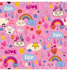 Clouds rainbows birds rain love hearts cartoon vector