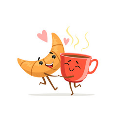 Comic characters of hugging croissant and cup of vector