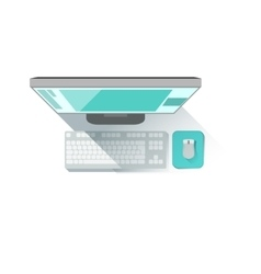 Computer screen keyboard and mouse office worker vector