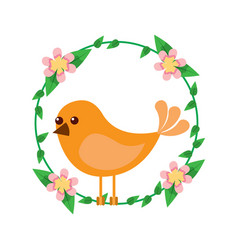 cute bird in decorative floral wreath flowers vector image