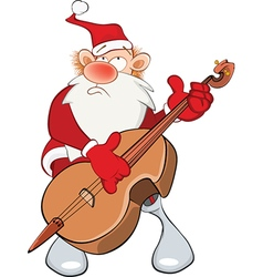Cute Santa Claus and Cello vector image vector image