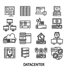 Datacenter Monochrome Icons Set vector image vector image