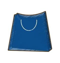 Drawing blue bag gift shopping vector