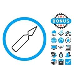Empty ampoule flat icon with bonus vector