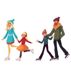 Family of father mother sister and son ice vector