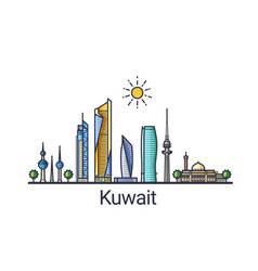 flat line kuwait banner vector image vector image