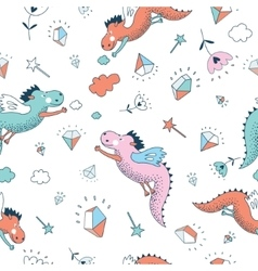 Funny seamless pattern Cute hand drawn vector image vector image