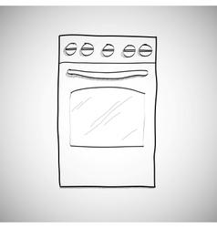 gas stove - hand drawn sketch vector image vector image