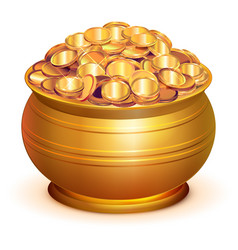 gold pot full of gold coins vector image
