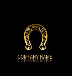 golden horseshoe symbol vector image vector image
