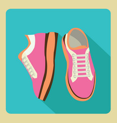 Gym sneakers on side and front view over isolated vector