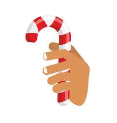 Hand and candy cane arm holding christmas vector