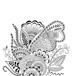 Hand-drawn cute abstract floral elements in mehndi vector