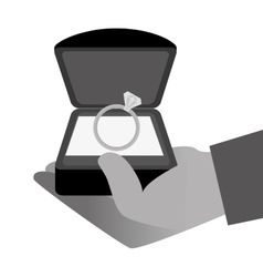 Hand with engagement ring vector