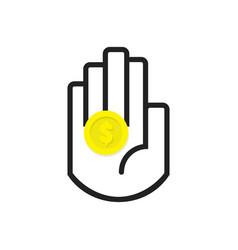 Isolated black hand symbol holding yellow coin vector