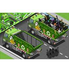 Isometric Garbage Truck with Container in Rear vector image vector image