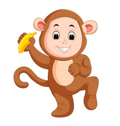 little funny baby wearing monkey suit vector image