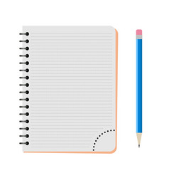 Notebook with a blue pencil vector