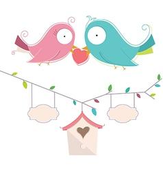 Of Two Cute Birds In Love Wedd vector image