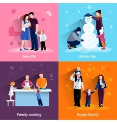 Parenthood 4 flat icons square set vector