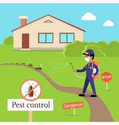 Pest control concept in flat style design vector