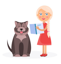 pretty girl with book and tibetan mastiff on white vector image