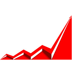 Red arrow graph rising white background vector