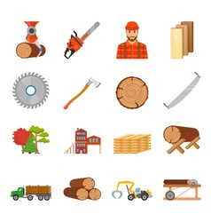 Sawmill Timber Icon Set vector image vector image