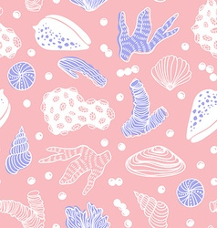 Seamless pattern with sea treasures - corals vector