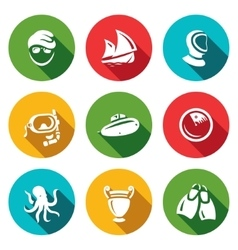 Set of Diving Icons Diver Ship Wetsuit vector image vector image