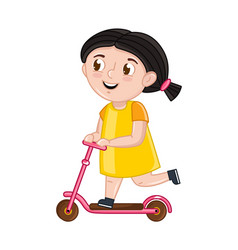 Smiling little girl riding on kick scooter vector