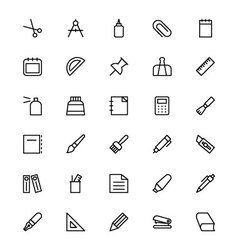 Stationery Line Icons 1 vector image