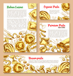 Templates set for pasta of italian cuisine vector