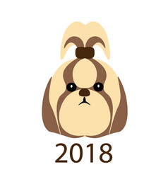 The icon a funny portrait of a dog 2018 year of vector