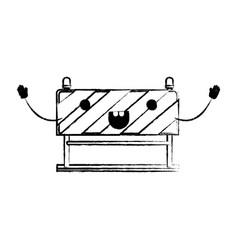 traffic barrier flat icon monochrome cartoon vector image