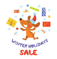 winter holidays sale banner with dog in santa hat vector image vector image