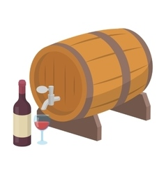 Wooden wine barrel icon in cartoon style isolated vector