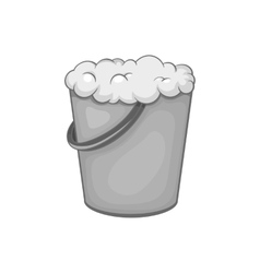 Bucket of foam icon black monochrome style vector