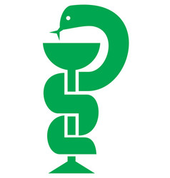 medical snake and bowl symbol for drugstore vector image