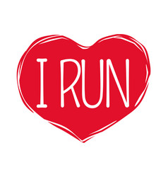 i love run text in red hand drawn heart logo sign vector image