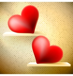 Empty shelf with red hearts vector