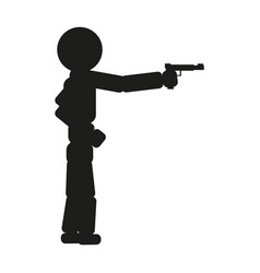 A man is aiming from a pistol sign vector