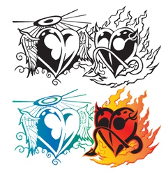 Angel heart with wing and devil heart with fier t vector