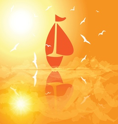 Yacht in the open sea at sunset vector