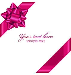 Pink ribbon with bow vector