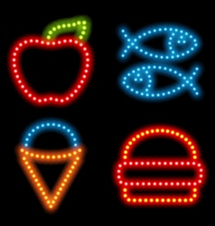 Neon food set vector