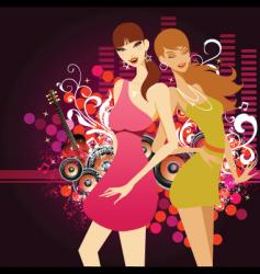 music girls vector image