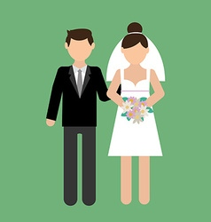 Wedding couple with wedding dress vector