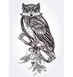Hand drawn vintage owl with a letter manuscript vector