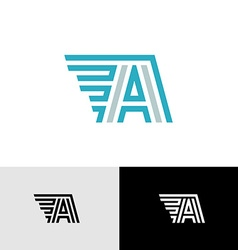 Letter a linear logo with side wings vector